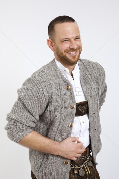 Férfi hagyományos Oktoberfest kép arc boldog Stock fotó © magann