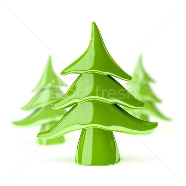 Zöld cserépedények karácsonyfa 3d illusztráció fa fehér Stock fotó © magann
