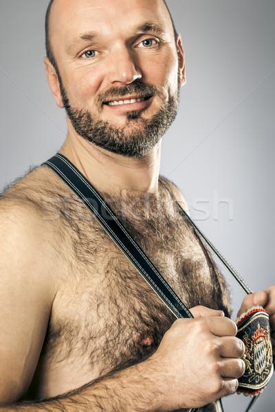 Überlieferung Bild haarig Mann Bier Hintergrund Stock foto © magann