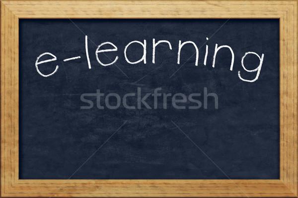 Tábla online oktatás szép fekete szöveg számítógép Stock fotó © magann