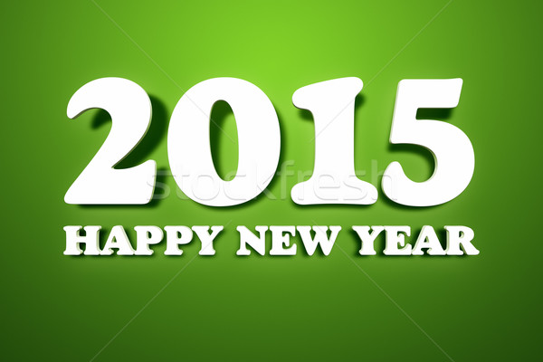 2015 szczęśliwego nowego roku obraz tekst zielone ściany Zdjęcia stock © magann