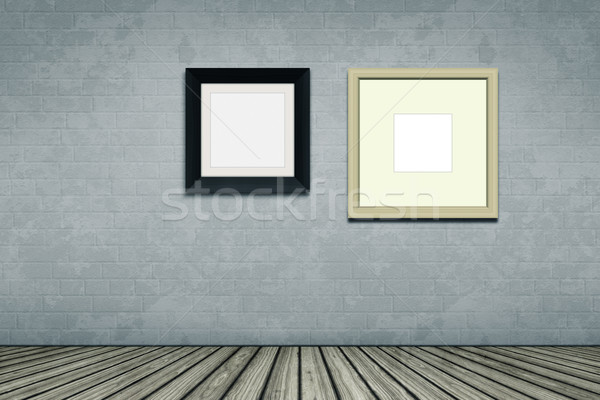 Zdjęcia stock: Pustym · pokoju · dwa · zdjęcie · ramki · budynku · ściany