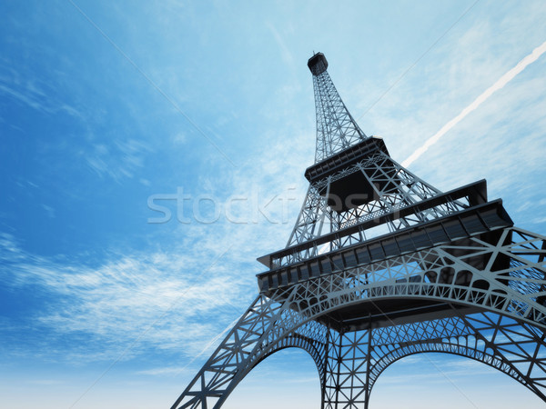 Tour Eiffel Paris illustration construction espace bleu Photo stock © magann