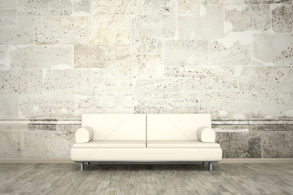 photo wall mural stone wall sofa floor Stock photo © magann