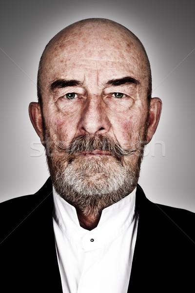 Idős férfi furcsa szürke szakáll magas részletek Stock fotó © magann