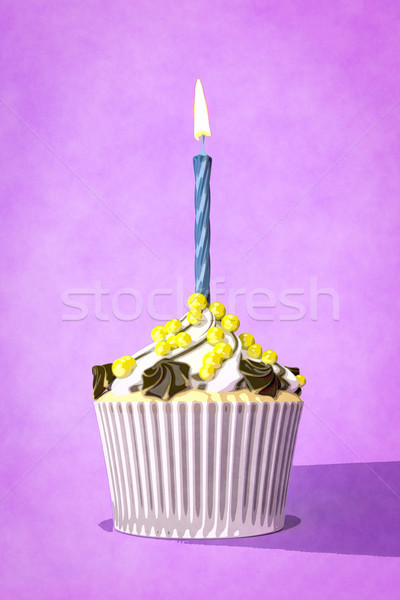 purple cupcake with a candle watercolor painting Stock photo © magann