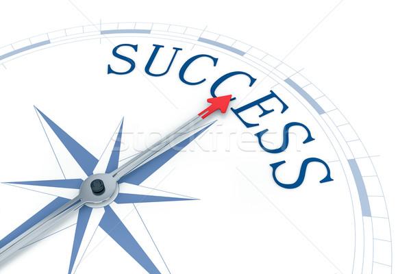 Kompas succes afbeelding mooie Blauw woord Stockfoto © magann