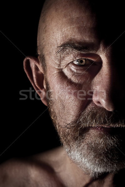 Foto stock: Velho · cinza · barba · cara · homem · sozinho