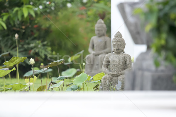 Buddha szobor kép kert arc zöld Stock fotó © magann