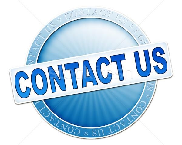 contact us button blue Stock photo © magann