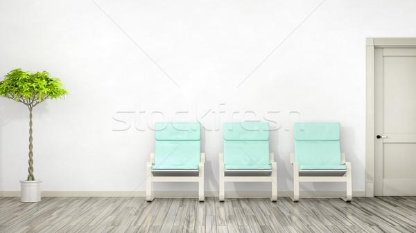 Kamer drie stoelen ruimte mode ontwerp Stockfoto © magann