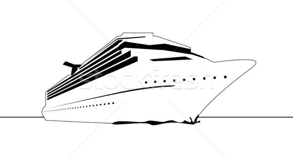 Navio de cruzeiro preto e branco gráfico céu verão espaço Foto stock © magann