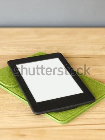 Ebook lezer houten tafel afbeelding internet hout Stockfoto © magann