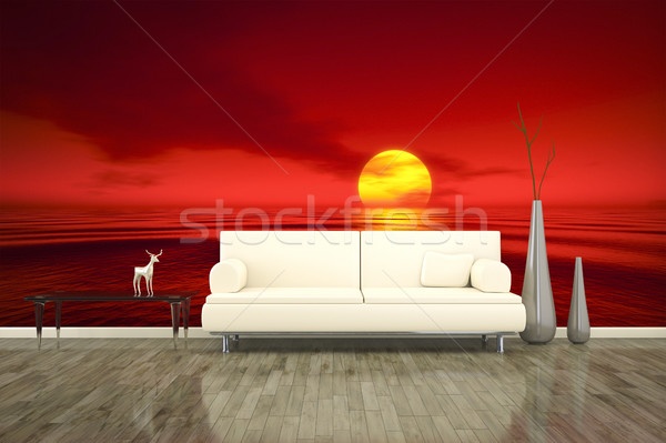 photo wall mural sofa floor red sunset Stock photo © magann