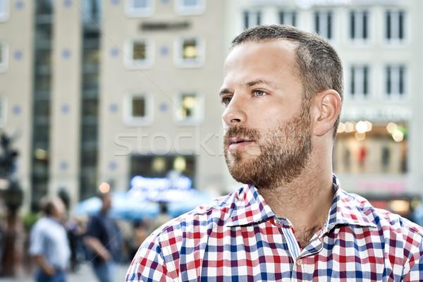Férfi szakáll kép jóképű férfi város mosoly Stock fotó © magann