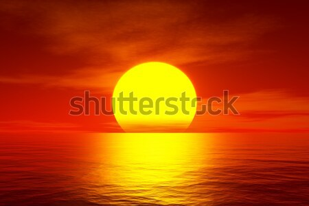 red sunset over the ocean Stock photo © magann