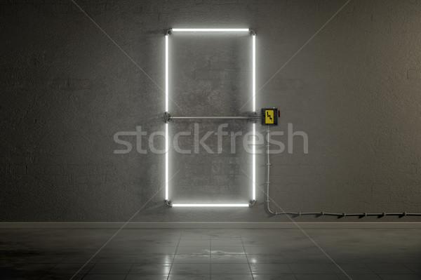 неоновых Трубы здании числа нулевой 3D Сток-фото © magann