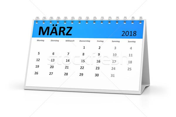 Nyelv asztal naptár 3D renderelt kép események Stock fotó © magann