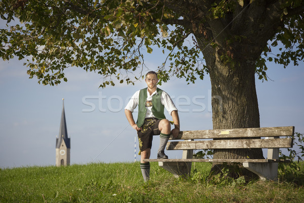 Tradition homme herbe image ciel nuages Photo stock © magann