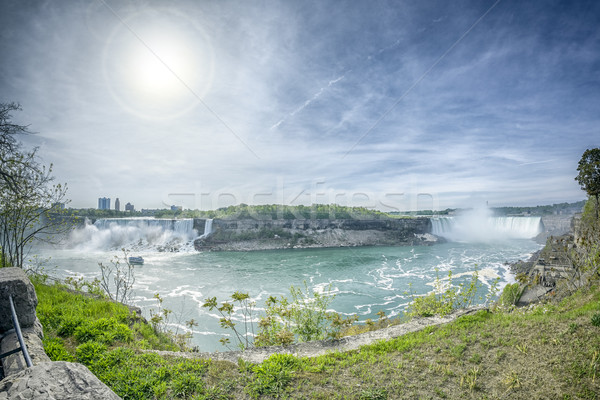 Niagara Falls afbeelding hemel natuur zomer Blauw Stockfoto © magann