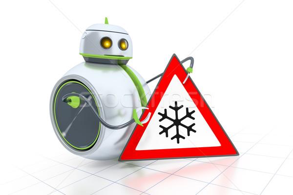 Stock fotó: Kicsi · robot · jelzőtábla · édes · út · technológia