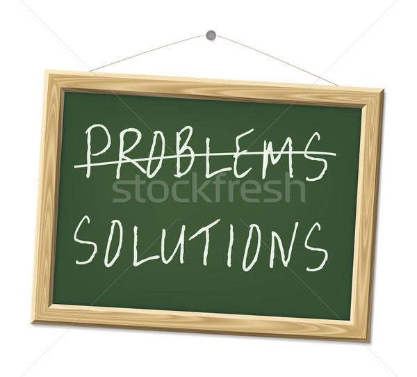 Problèmes solutions craie bord mots affaires Photo stock © magann