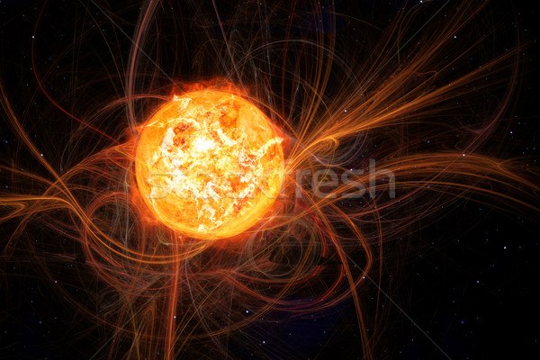 Stockfoto: Zon · ruimte · afbeelding · brand · achtergrond · veld