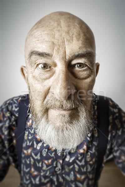 Vecchio grandangolo ritratto immagine barba uomo Foto d'archivio © magann