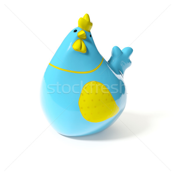 a stylish blue and yellow ceramic chicken for easter decoration Stock photo © magann