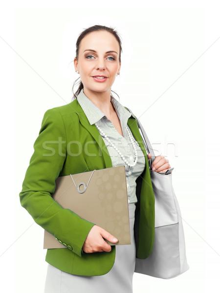 деловой женщины сумочка папке женщину лице волос Сток-фото © magann