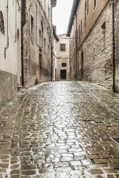 typical italian city street at rain Stock photo © magann