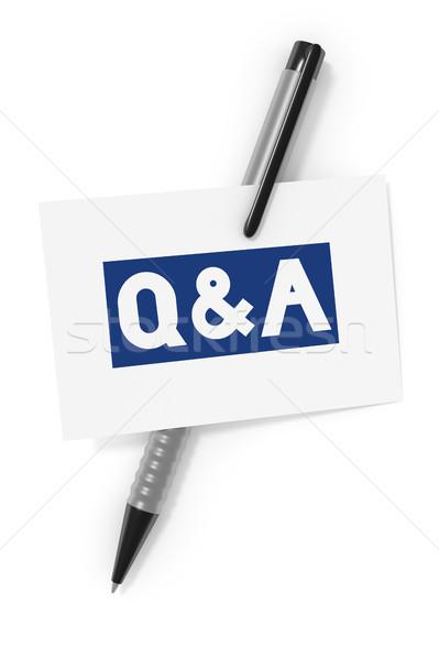 Névjegy labda toll szöveg kérdések válaszok Stock fotó © magann
