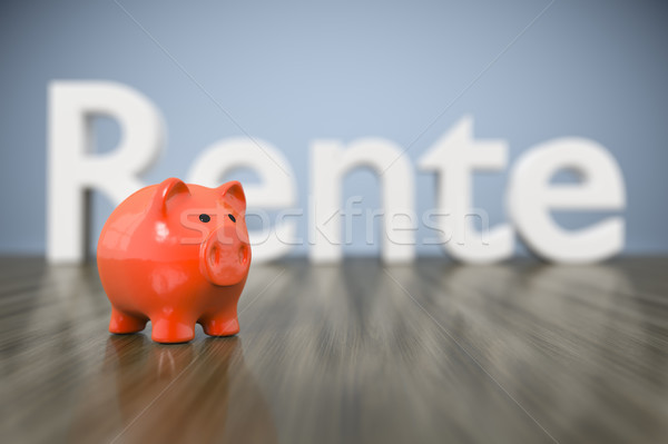 piggy bank with the word pension in german language Stock photo © magann
