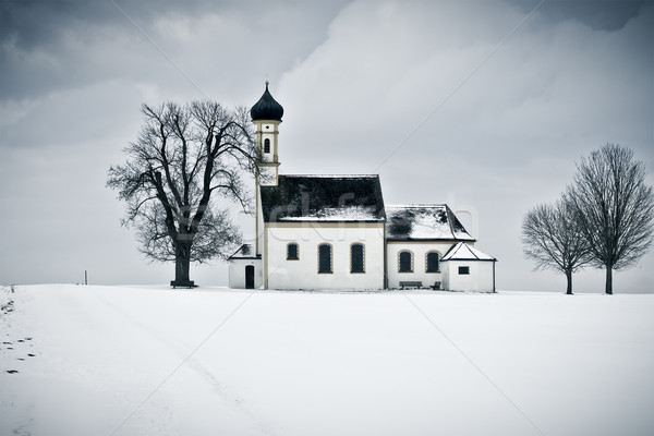 Stock photo: winter scenery church