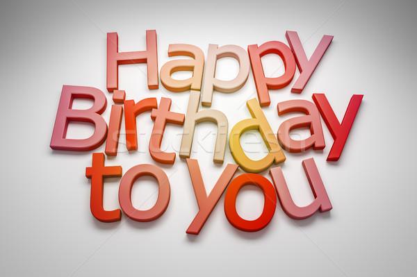 Gelukkige verjaardag afbeelding gelukkig verjaardag graffiti Rood Stockfoto © magann