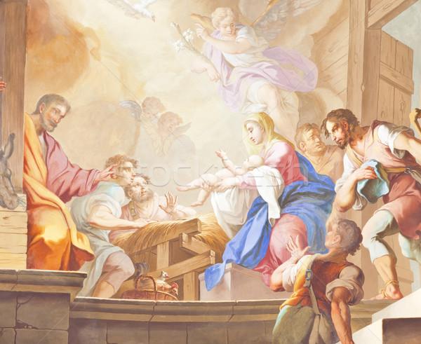 Freskó kép gyönyörű vallásos arc fal Stock fotó © magann