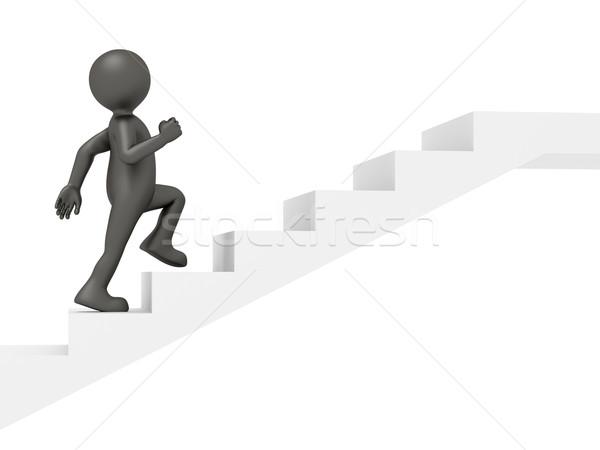 Homme escalade escaliers image drôle peu Photo stock © magann