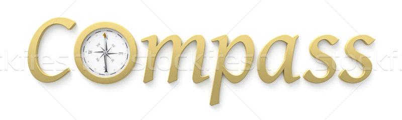 Pusula kelime ışık Metal turuncu siyah Stok fotoğraf © magann