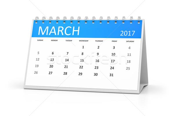 blue table calendar 2017 march Stock photo © magann