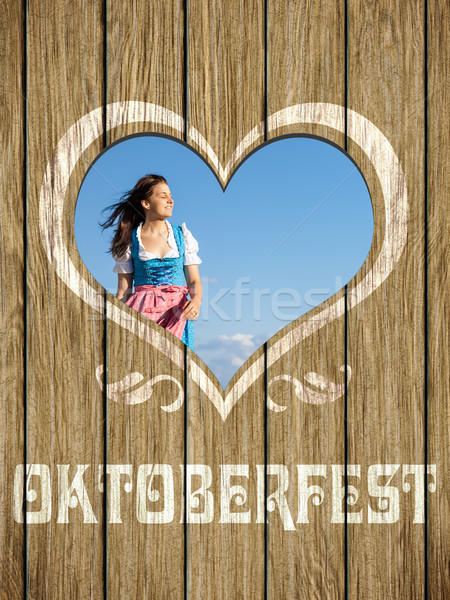 wooden heart woman octoberfest Stock photo © magann