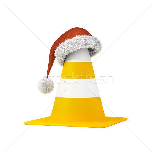 traffic cone the a christmas hat Stock photo © magann
