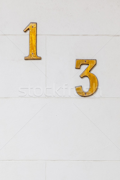 Aantal 13 afbeelding muur huis textuur Stockfoto © magann