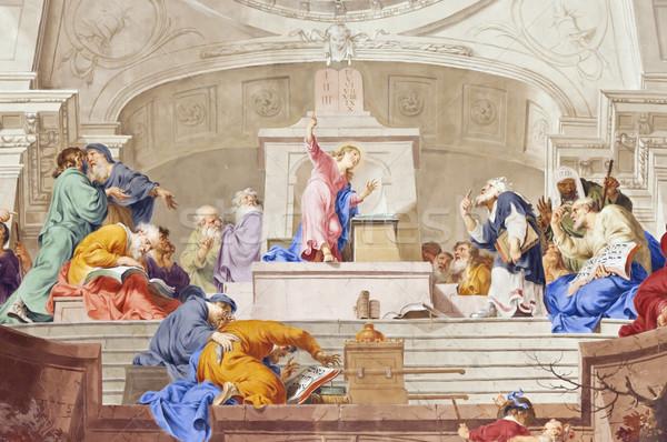 Fresk obraz piękna religijnych twarz ściany Zdjęcia stock © magann