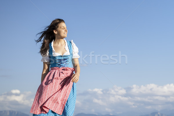 young woman in bavarian traditional dress dirndl Stock photo © magann