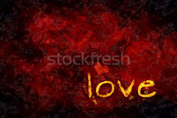 Amore cuore illustrazione buio grunge parola Foto d'archivio © magann