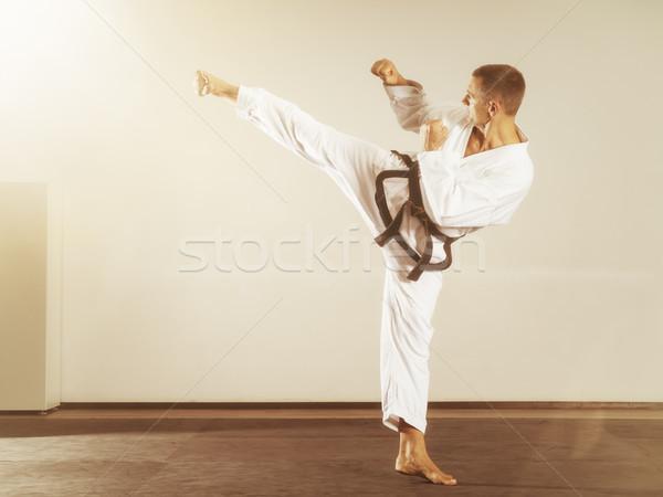 Küzdősportok mester oldal rúgás kép sport Stock fotó © magann