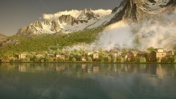 Stockfoto: Noorden · Italië · afbeelding · huizen · ochtend · licht