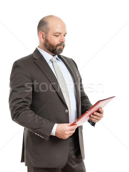 ストックフォト: ビジネスマン · 赤 · フォルダ · 画像 · ハンサム · ビジネス