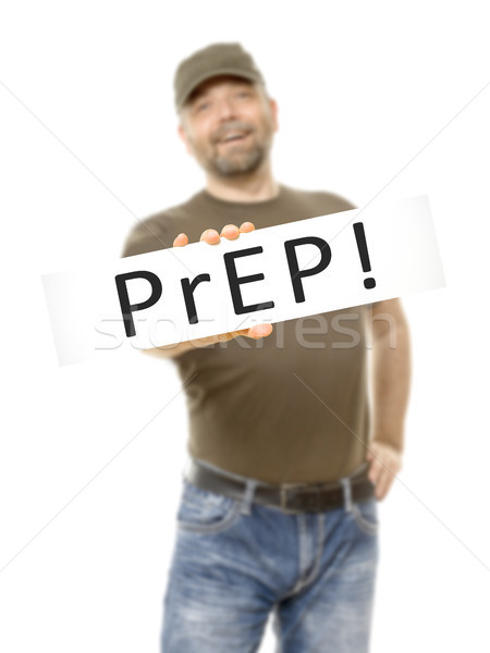 bearded man white board PrEP Stock photo © magann