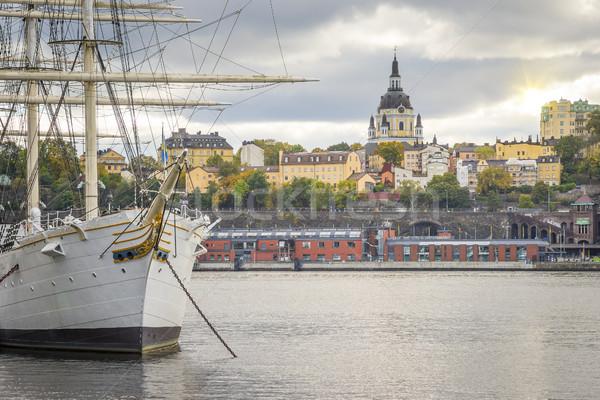 Sztokholm miasta Szwecja obraz wody słońce Zdjęcia stock © magann